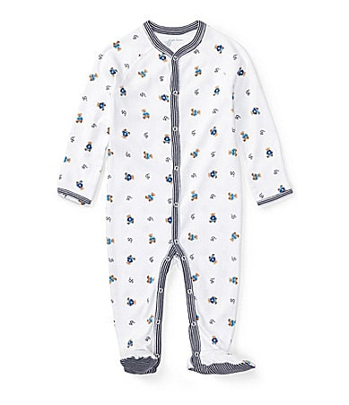Ralph Lauren Childrenswear Newborn Bear Printed Footed Coverall