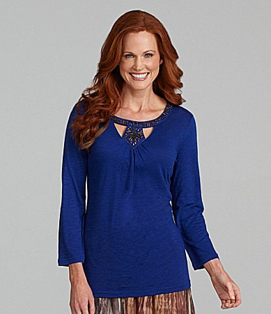 Reba Cutout Scoopneck Knit Top