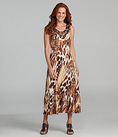Reba Animal-Print Embellished Maxi Dress