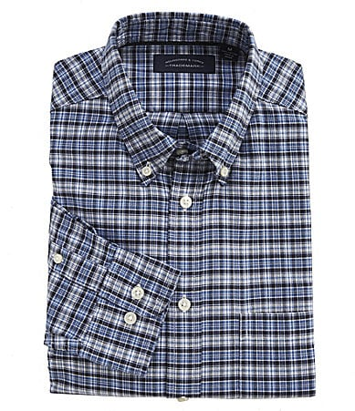 Roundtree & Yorke Trademark Small-Checked Oxford Sportshirt