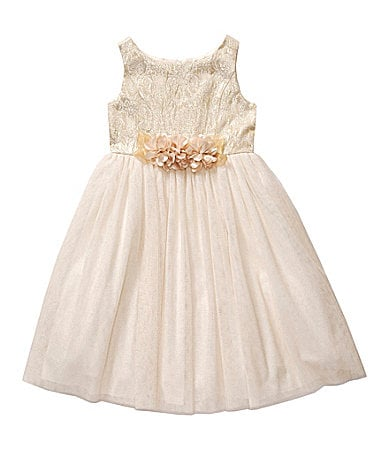 Sweet Heart Rose 2T-6X Brocade Bodice Flower Dress