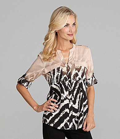 Calvin Klein Animal-Print Roll-Sleeve Blouse