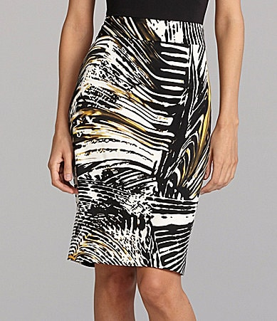 Calvin Klein Abstract-Print Pencil Skirt
