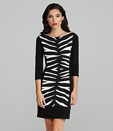Eva Varro Zebra-Print Knit Dress