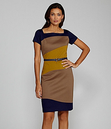 Jones New York Belted Colorblock Dress