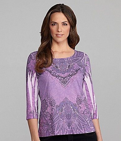 Westbound Woman Sublimation Border-Print Scoopneck Top