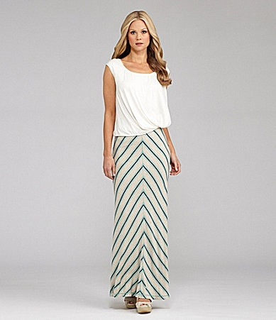 M.S.S.P. Cap Sleeve Bubble Top & Striped Maxi Skirt