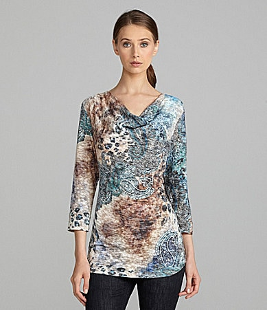 IQ Paris Mix-Print Cowlneck Top