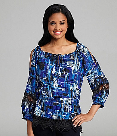 ECI Printed Cold-Shoulder Top
