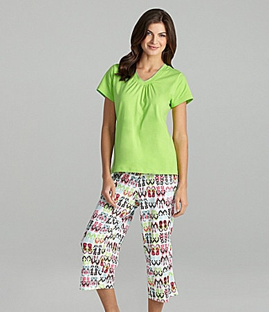Sleep Sense Lime V-Neck Top & Flip Flop Print Capris