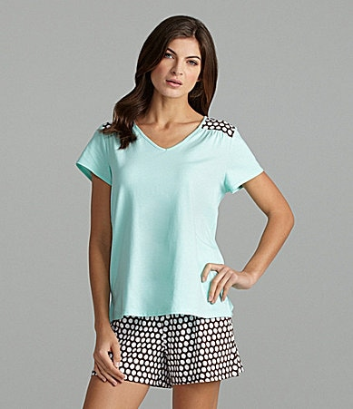 Sleep Sense Aruba Blue V-Neck Top & Dot-Print Boxer Shorts