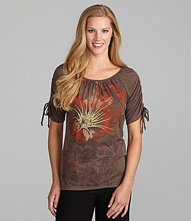 Westbound Shirred-Sleeve Floral-Print Top
