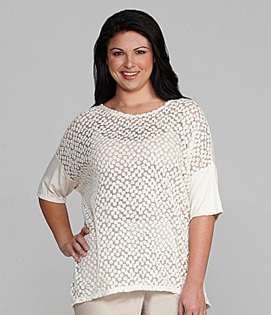 M.S.S.P. Woman Lace-Front Oversize Top