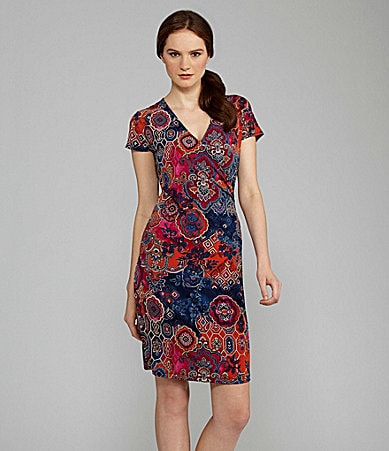 Jones New York Signature Printed Cap-Sleeve Dress