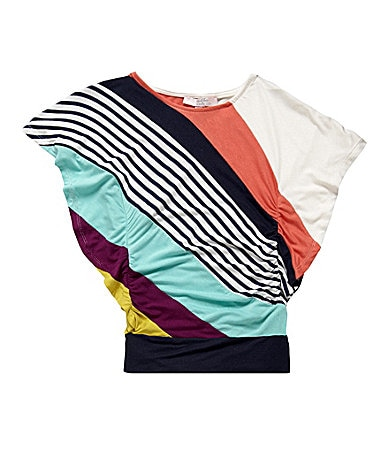 Moa Moa 7-16 Striped Side Ruffle Top