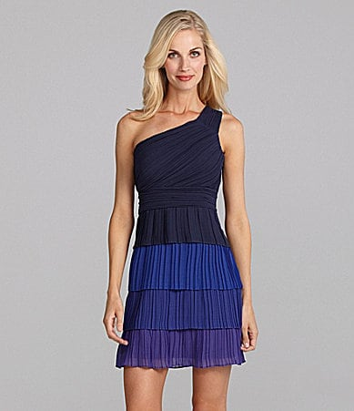 Max and Cleo Arianna One-Shoulder Colorblock Dress