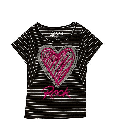 Forever Orchid 7-16 Love Rock Striped Top