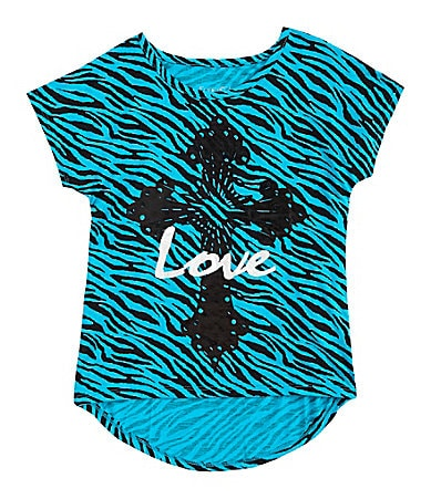 Forever Orchid 7-16 Love Cross Zebra-Print Top