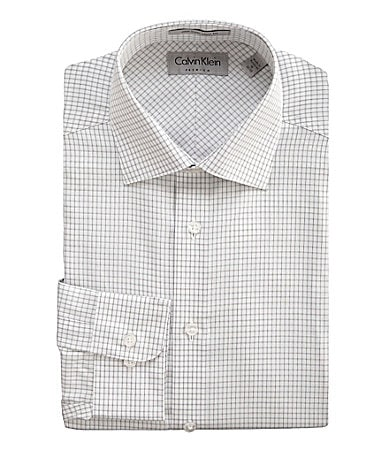 Calvin Klein Dobby Plaid Fitted Dress Shirt
