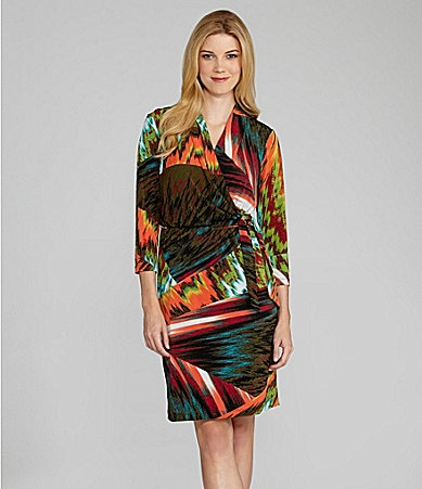 Maggy London Abstract-Print Wrap Dress
