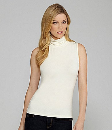 Leo & Nicole Petites Sleeveless Ruched Mockneck Top