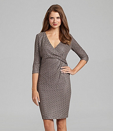 Jones New York Metallic-Lace Side-Drape Dress