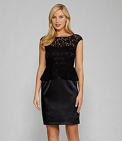 London Times Satin and Lace Peplum Dress