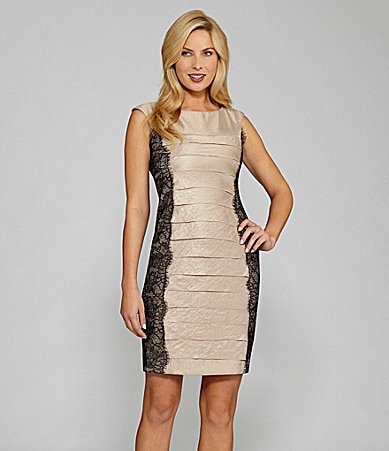 London Times Petites Shutter-Pleat Sheath Dress