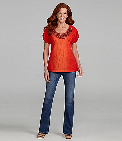 Reba Roll Tab Stone Embellished Top & Pull-On Denim Jeans