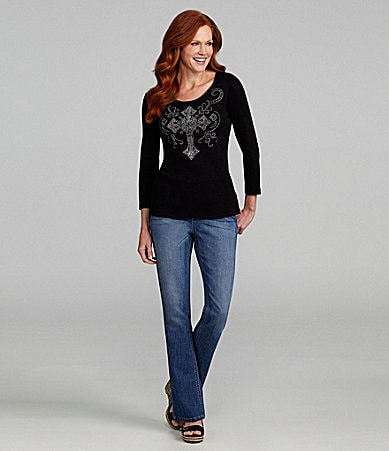 Reba Cross Knit Top & Pull-On Denim Jeans