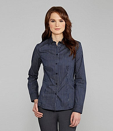 Jones New York Signature Pinstripe Button-Front Shirt