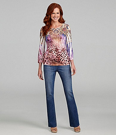 Reba Leapord Sublimation Tee & Pull-On Denim Jeans