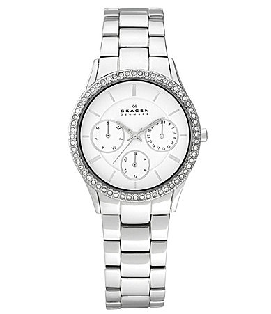 Skagen Stainless Steel With Stones Ladies Watch