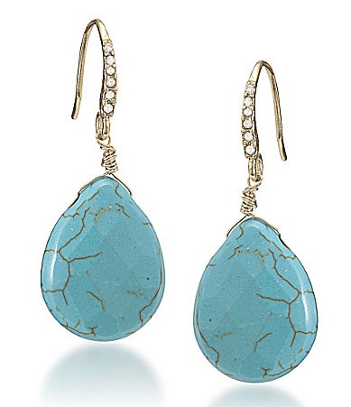 Carolee Rockstars Genuine Stone Teardrop Earrings