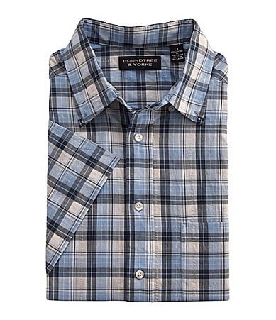 Roundtree & Yorke Big & Tall Seersucker Plaid Sportshirt