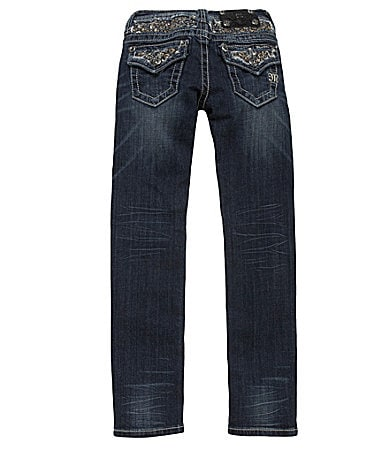 Miss Me Girls 7-16 Embroidered-Yoke Denim Skinny Jeans