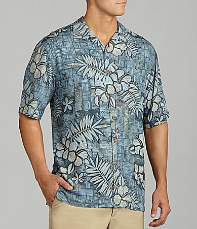 Caribbean Big & Tall Hibiscus Print Shirt