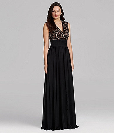 JS Collections Lace-Bodice Gown