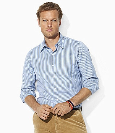 Polo Ralph Lauren Big & Tall Classic-Fit Striped Cotton Poplin Sportshirt