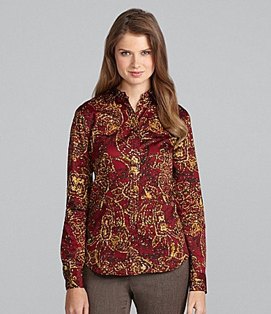 Jones New York Signature Fitted Abstract-Print Shirt