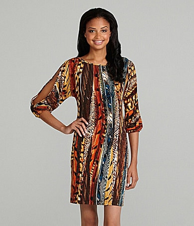 Calvin Klein Mix-Print Cold-Shoulder Dress