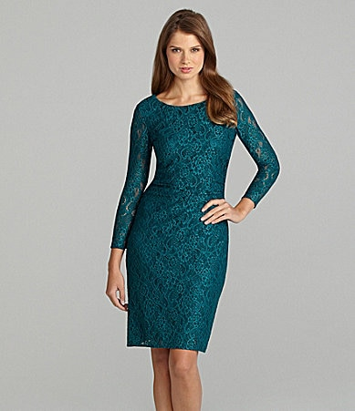 Tahari 3/4-Sleeve Lace Dress