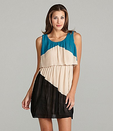 Aryn K. Colorblock Pleated Dress