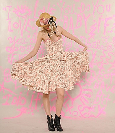 Betsey Johnson Skull Floral Smocked Dress