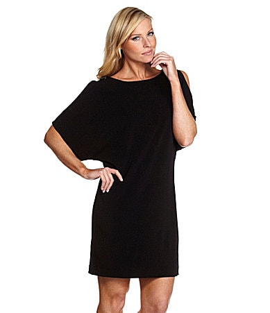 S.L. Fashions Petites Crepe Cold-Shoulder Dress
