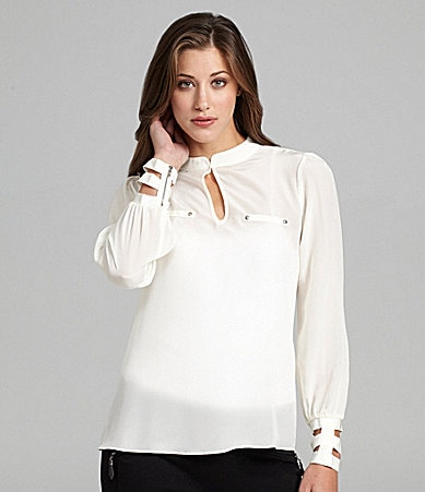 Aryn K. Silk Cutout Blouse