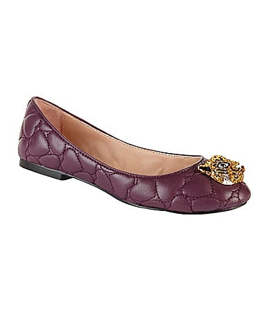 Betsey Johnson Shuga Heart-Quilted Flats