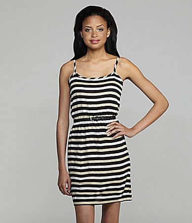 Calvin Klein Belted Striped Dress