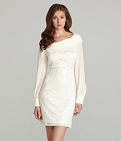 Tahari Portrait-Collar Chiffon and Lace Dress