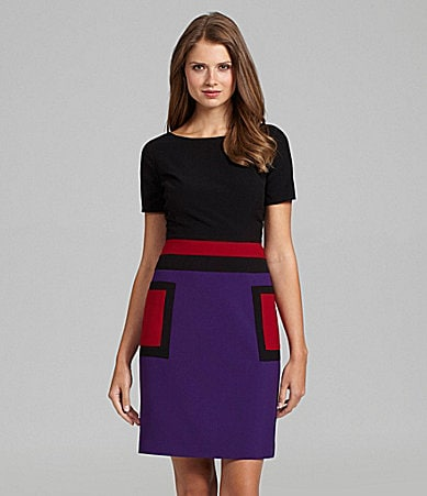 Evan Picone Colorblock Knit Dress